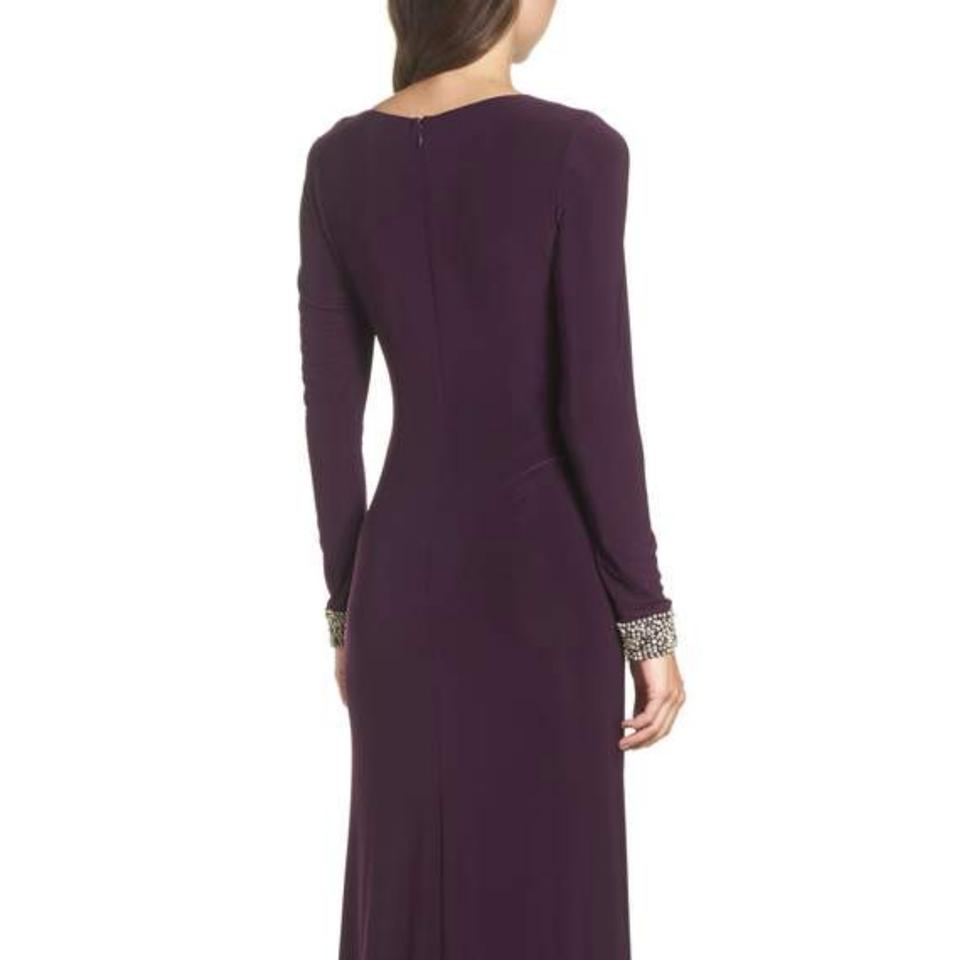 Vince Camuto Plum Beaded Cuff Ruched Jersey Gown Long