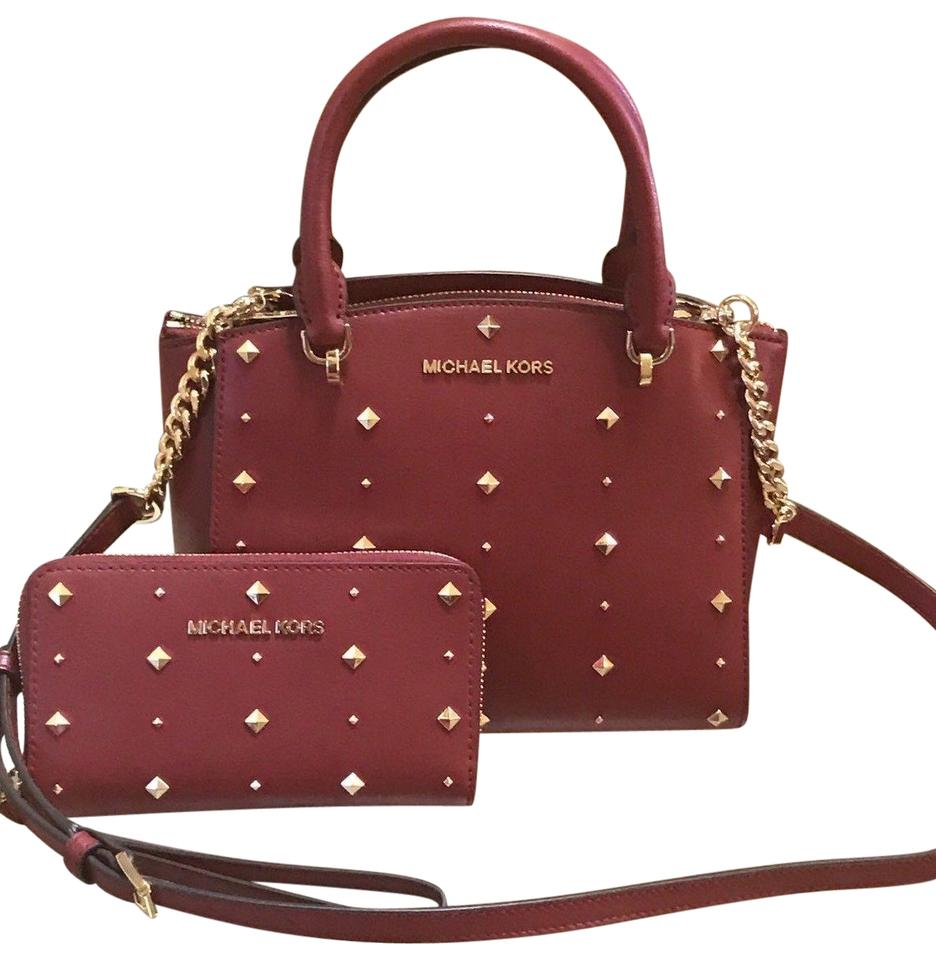 53356df7fd72 Michael Kors Mk Ellis Small Gold Studs Crossbody Strap Matching Walle  Satchel in Red Image 0 ...