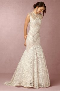 BHLDN Ivory Lace Blanca Gown By Christos Costarellos - Unaltered Like New Modest Wedding Dress Size 6 (S)