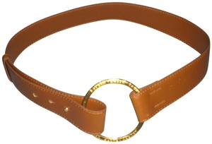 Ralph Lauren Leather Belt with big Gold ring size 10