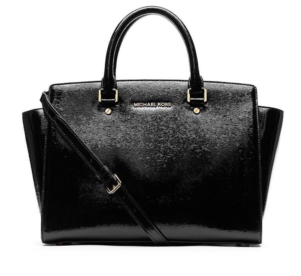 936c61c6a3b0 Michael Kors Selma Patent Leather Selma Mk Selma Large Mk Patent Satchel in  BLACK GOLD ...