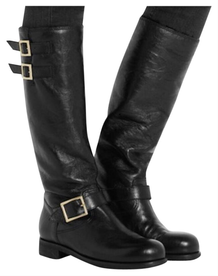 98984ebee52 Jimmy Choo Black New Yule Rabbit Fur Lined Biker Leather Knee Boots/Booties
