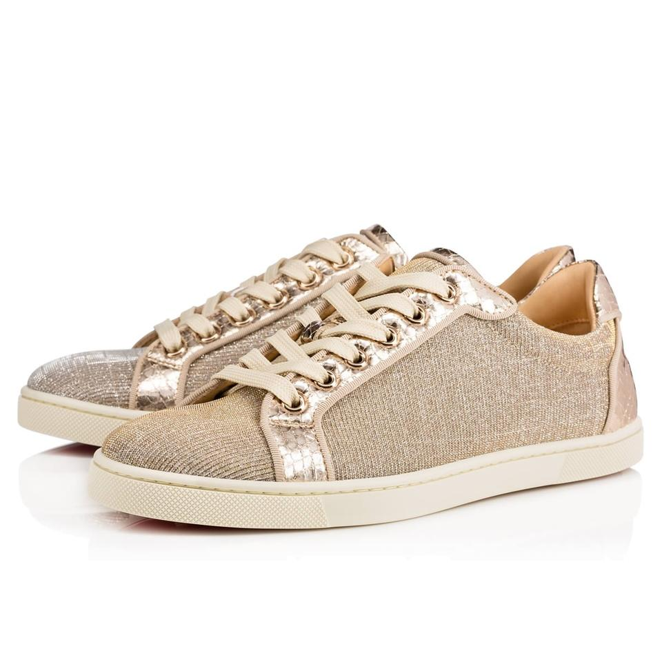 new styles 9cebd f5f1a Christian Louboutin Gold Seava Glitter Low Top Lace Up Tie Flat Sneakers  Size EU 35 (Approx. US 5) Regular (M, B)
