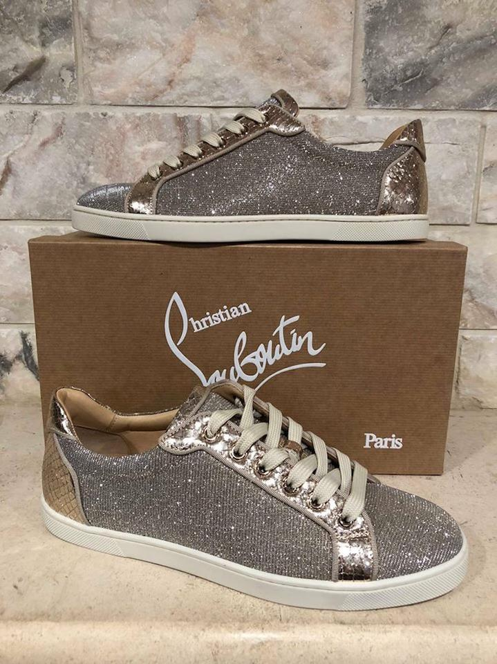 new styles ebbfd 85370 Christian Louboutin Gold Seava Glitter Low Top Lace Up Tie Flat Sneakers  Size EU 35 (Approx. US 5) Regular (M, B)