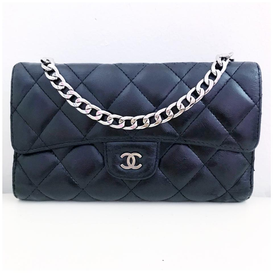 1521a61a2650 Chanel Classic Flap Wallet *with Chain Added* Black Lambskin Leather Clutch
