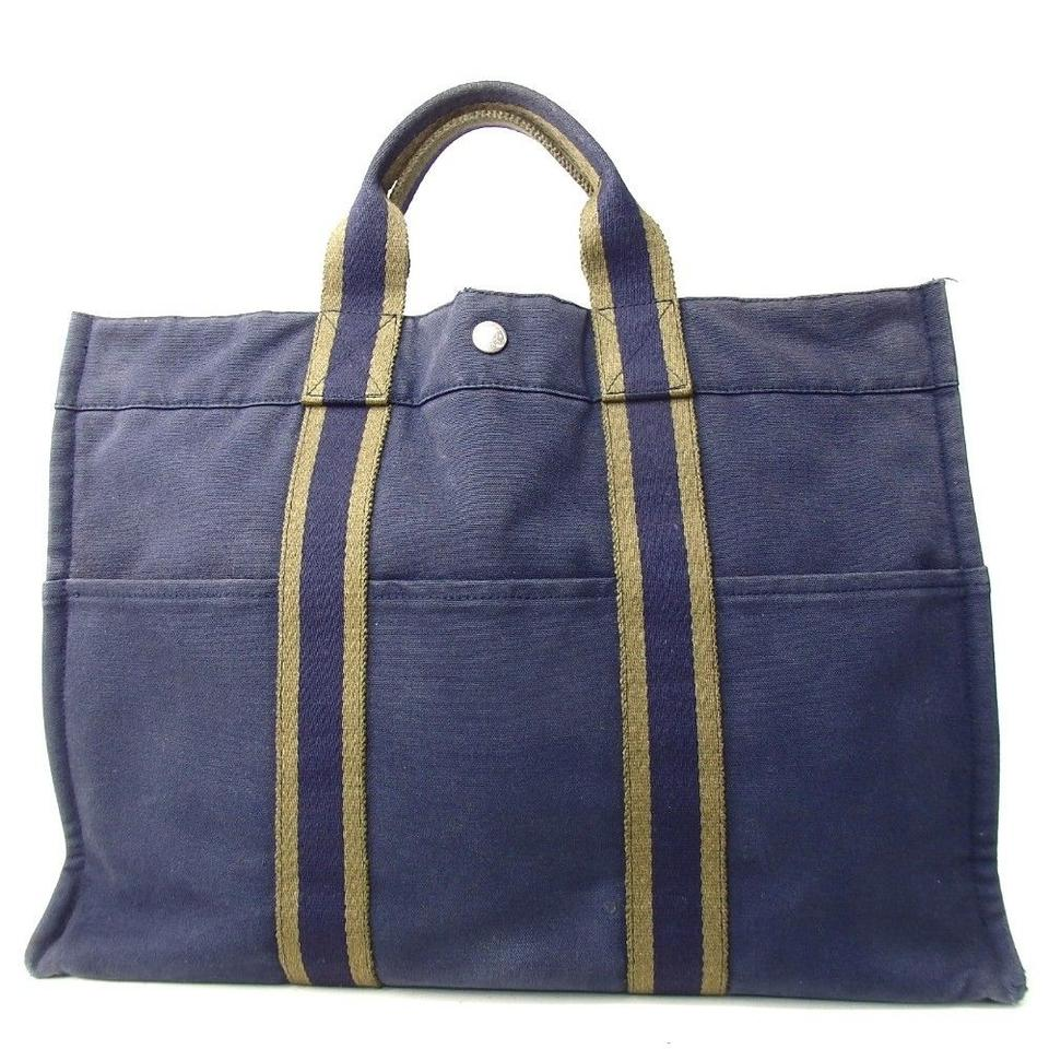 e762c5ebb06e Hermès Unisex Fool Toe Tote Blue Canvas Shoulder Bag - Tradesy