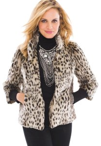 Chico's Faux Fur Animal Brown/Leopard Print Jacket