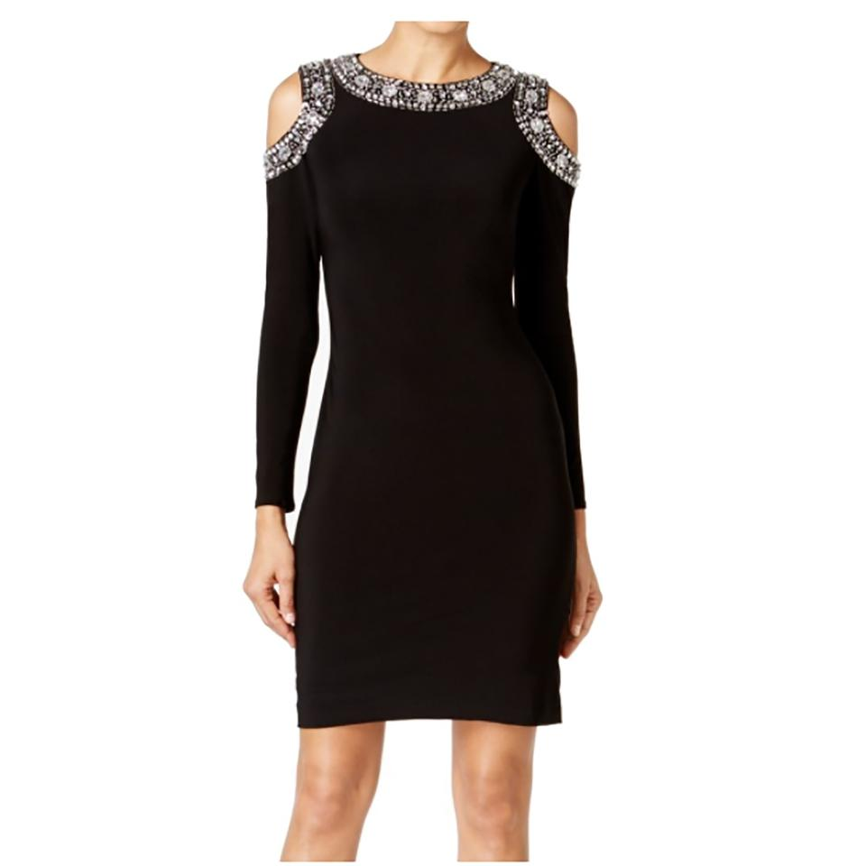 Betsy & Adam Black New Womens Embellished Cold-shoulder Sheath Short ...