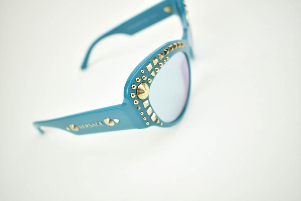 b01a6a0dc3ba1 Versace Cat Eye - Turquoise   Gold Studded Mirrored Sunglasses - Tradesy