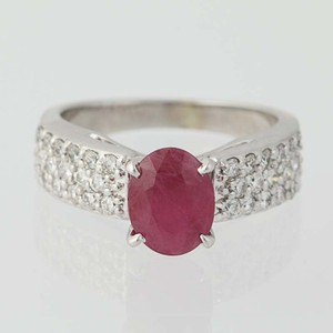 Red New Ruby Diamond - 14k White Gold Oval 2.88ctw Engagement Ring