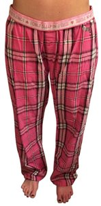 PINK Plaid Pajamas Relaxed Pants Pink Plaid