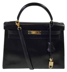 Hermès Hermes Box Leather Satchel in Black