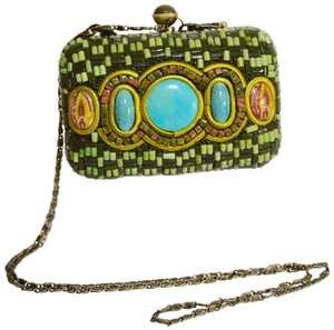 Carlisle Beaded Evening Turquoise Hand Painted Enamal Green Clutch