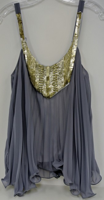 Akiko Size Small Sequin Details Sleeveless Sale Top Silver & Gold