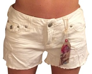 WallFlower Distressed Cut Off Shorts White