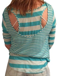 Fiancee Racer-back Layer-look Striped T Shirt Aqua