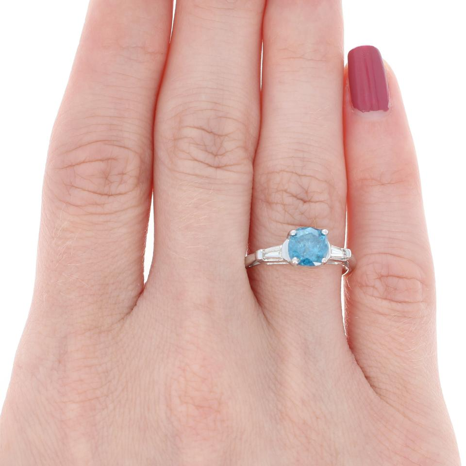 Blue Fancy White Diamond - Platinum Cushion Cut 1.45 Engagement Ring ...