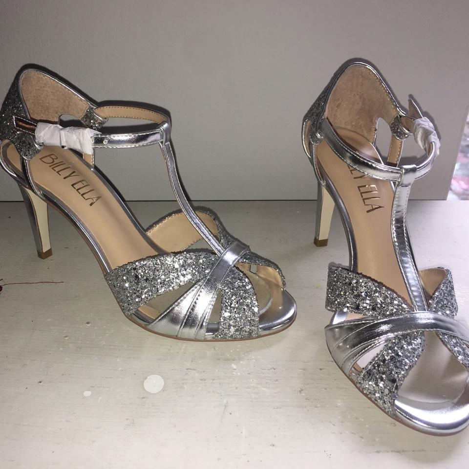 eb0effdde Silver Bhldn Lucia T-strap Heels Formal Shoes Size US 6.5 Regular (M ...