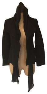 Cop. Copine Boiled Wool Draped Hooded Open Front Military Jacket