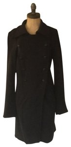 Cop. Copine Embroidered Knit Raw Edge Front Pockets Pea Coat