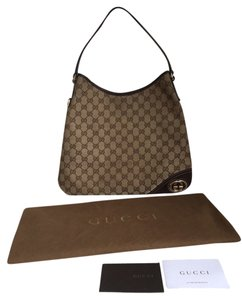 Gucci Gg Monogram New Britt Medium Handbag Tote Brown Canvas Signature Shopping Designer Hobo Bag