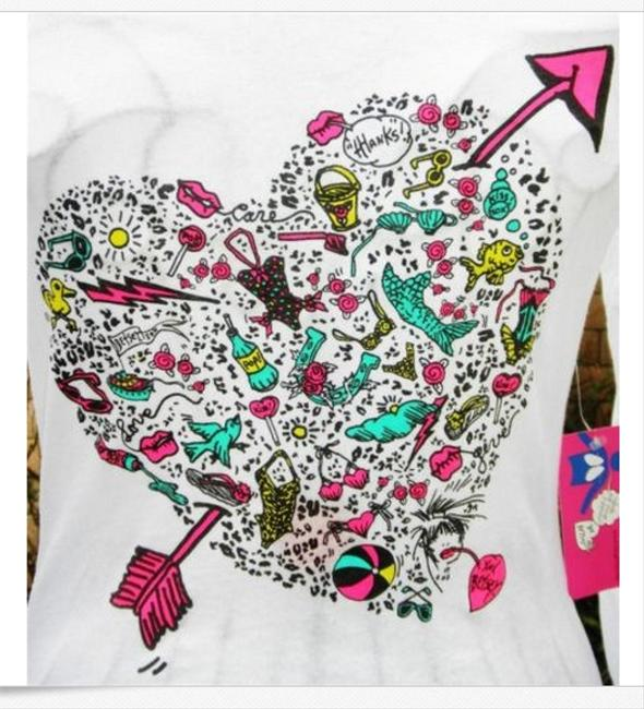 Betsey Johnson Cancer Longsleeve Cartoon Heart T Shirt white