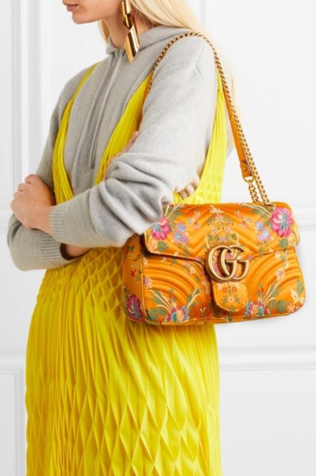 3880e10f676f Gucci Marmont New Gg Quilted- Floral Yellow Jacquard Shoulder Bag - Tradesy