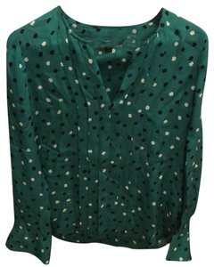 J.Crew Top green, polka dots