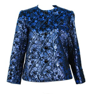 Saint Laurent Vintage Yves Saint Laurent YSL Blue Metallic Brocade Jacket, 9+ Cnditn