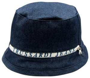 Trussardi New Trussardi Jeans M Medium Denim Bucket Hat Logo Printed Zipper