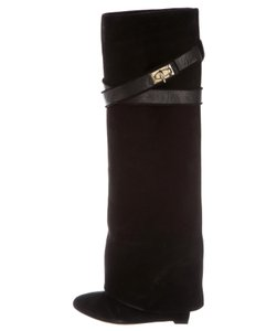 Givenchy Fold Over Shark Lock Wedge Suede Black Boots