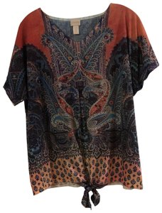 Chico's T Shirt Paisley blues with peach, shines threads all through.
