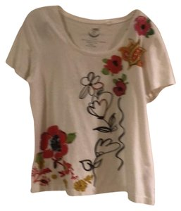 Chico's T Shirt White with red sequined flowers .