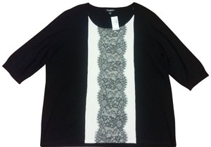 Roz & Ali 3/4 Inch Sleeves Black/Ivory Plus Size New With Tags Sweater