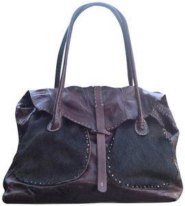 Henry Beguelin Distressed Pony Hair Leather Tab Closure Satchel in Brown