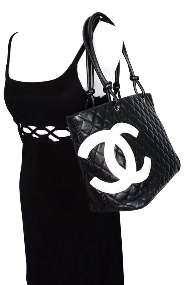 dc79c05dcb Chanel Cambon Classic Large Ligne Quilted Black Leather Tote - Tradesy