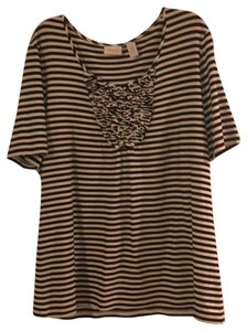 Chico's T Shirt Black and ecru stripes