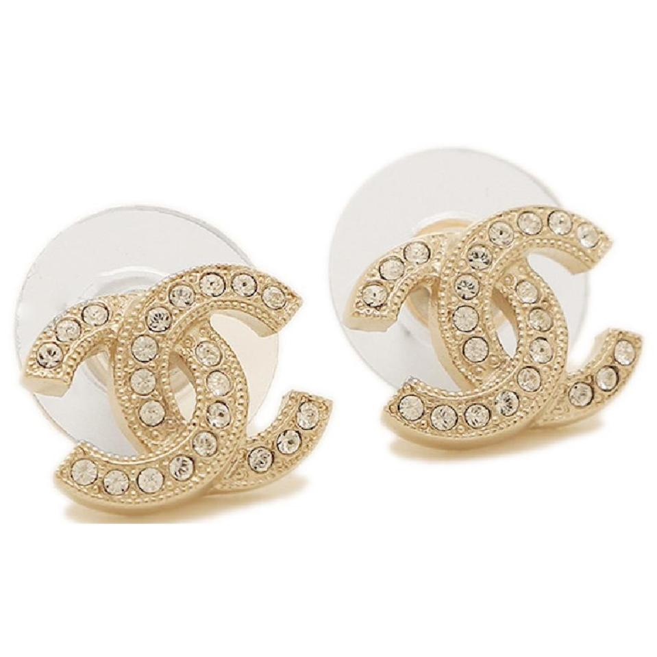 Chanel Authentic Clic Gold Cc Coco Earrings Swarovski Crystals Full Set