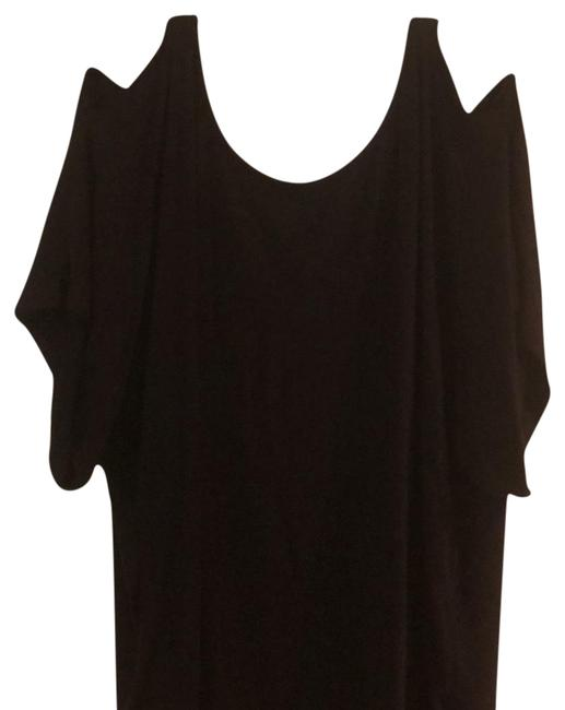 Item - Black with Gold Buckled At Shoulders Leather Like Straps T Top. Tee Shirt Size 14 (L)