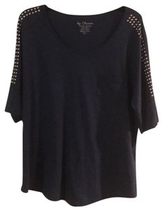 Chico's T Shirt Denim blue with silver studs on sleeves and shoulders