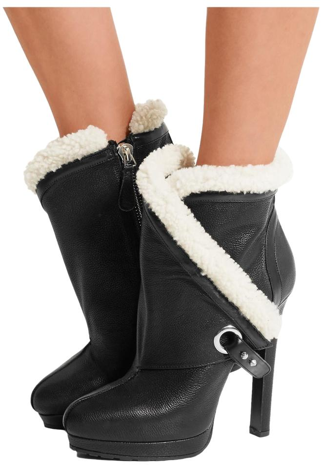 c1aacb761f5e Alexander McQueen Black New Shearling Trimmed Textured Leather Ankle Boots  Booties