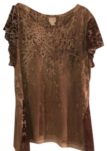 Chico's T Shirt muted browns and shaded with sparkles