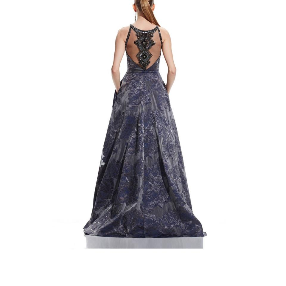 Theia Blue Beaded Gown Style 882549 Long Formal Dress Size 4 (S ...