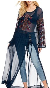 Free People Embroidery Navy Tunic