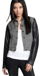 Rag & Bone Longsleeve Leather Contrast Denim Motorcycle Jacket