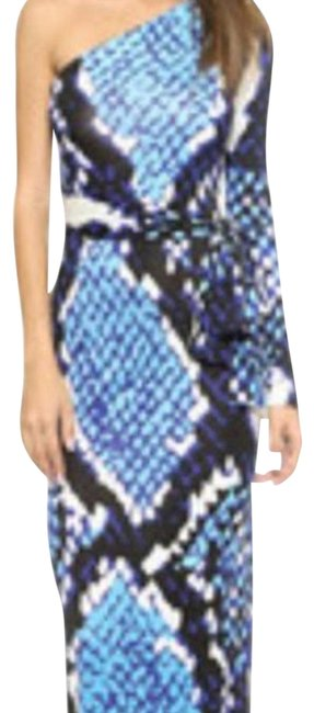 Item - Snakeprint/Blue Coco One Shoulder Long Night Out Dress Size 2 (XS)