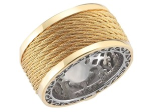 Charriol NEW 100% Authentic Charriol Celtic Classique 18 Karat Yellow Gold & Stainless Steel Cable Ring