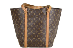 Louis Vuitton Leather Sac Shopping Shoulder Tote in Brown