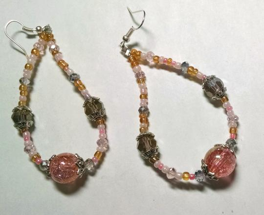Other New Handmade Glass Beaded Hoop Earrings Pink White Beige J800