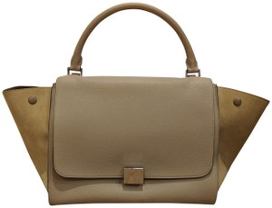 Cline Trapeze Taupe Suede Leather Tote in Dune / Beige